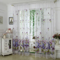 FP- 1Piece Peony Flower Embroidered Sheer Tulle Curtains Rod Pocket 100*250cm Vo