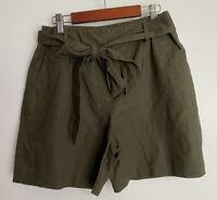 Boden Womens Shorts Tie Front Waist Paperbag Dark Army Green Linen Cotton Size 6