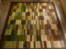 New Handmade King Size Quilt ~~ Patchwork ~~ Earthtones (Browns/Greens)