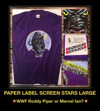 VTG 80s Black Panther Wwf Roddy Piper Marvel Avengers nos Screen Stars T-Shirt L