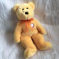 "TY Beanie Babies Buddy Sunny Bear Yellow Orange Bow Plush Stuffed Animal 14"""