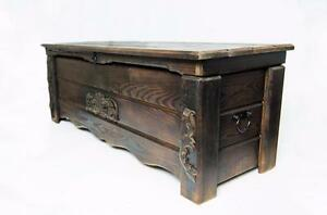 Wooden Vintage Blanket Trunk Box Coffee Table Chest Ottoman Furniture WBT6