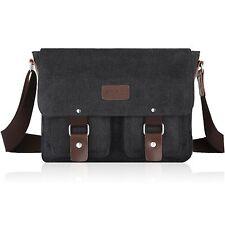 SMRITI Canvas Messenger Bag Laptop Satchel for 14-Inch Laptop - Black/Dark Denim