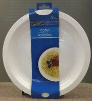 """2 White Microwaveable 10"""" Plates,lid,cover,steamer,MICRO WAVE,MICROWAVE Plate"""