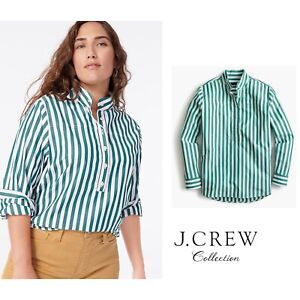 NEW J Crew Women's Band Collar Poplin Tunic Bold Striped Size 8