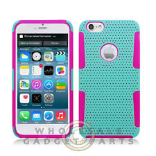 Apple iPhone 6/6s Plus Hybrid Mesh Case Teal/Hot Pink  Guard Shell Shield Cover