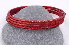 4 bracelets bangles rouges paillettes strass Bollywood sari danse orientale Inde