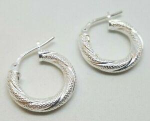 Sterling Silver Fancy Creole Hoop Twist Earrings 1.7g NEW Wife BFF Xmas Gift 925