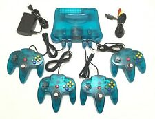 Funtastic Ice Blue Nintendo 64 System Complete w/ 4 Matching N64 Controllers