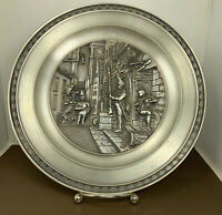 Vintage Pewter Plate, SKS ZINN 95% Made in W Germany, Decorative Embossed plate