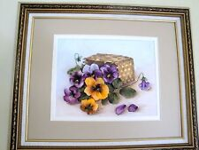 silk ribbon embroidery 'Basket with pansy '