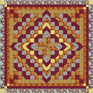 Quilt Kit Faceted Star Burgandy & Gold/ Precut Ready to Sew