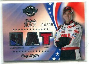 2008 Wheels Greg Biffle TRIPLE HAT CAP RELIC 94/99 NASCAR AUTO RACING