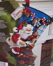 "Bucilla SANTA IN THE WORKSHOP Felt Christmas Stocking Kit OOP Factory Direct 18"""