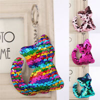 Cat Shaped  Sequins Key Chain Handbag Pendant Keyring Jewelry Gifts CuteDD