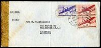 USA TO ARGENTINA Air Mail Censored Cover, 1943, VF