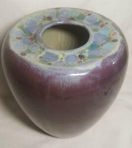 Madeline Originals Pasadena California Midcentury Vase Plum-Millefiori Drip Wow!