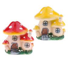 2pcs Resin Mushroom House Garden Ornament Miniature Plant Pots Fairy B#