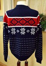 Vintage JC Penney Nordic Snowflake Stripe Sweater M Ski Preppy Mod Wear w Jeans