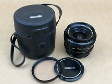 Konica 28mm f/3.5 AR Hexar Manual Focus Wide Angle Lens w/ Filter ,Caps & Case