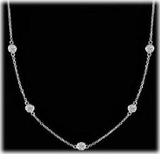 7 Round Diamond By The Yard Platinum Necklace 0.30 ct each F-G 2.12 tcw