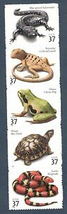 3814-18 Reptiles & Amphibians Strip Of 5 Mint/nh FREE SHIPPING