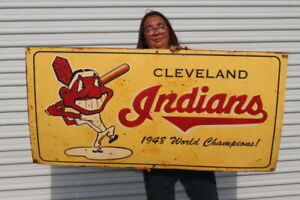 "Large Vintage Cleveland Indians 1948 Baseball World Champions 48"" Metal Sign"