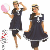 Ladies 1920s Old Time Bathing Suit Womens Fancy Dress Costume Outfit UK 8 - 30