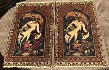 Pair Of  Pictorial Handmade Rug Stork/Dragon Design