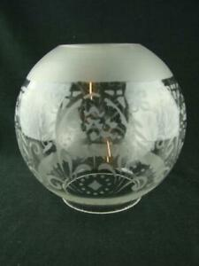 """ANTIQUE ETCHED GLASS GLOBE OIL LAMP SHADE 4"""" FITTER, STYLISED FOLIATE DECORATION"""