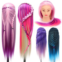 27'' Colorful Practice Training Head Long Hair Mannequin Hairdressing Salon Doll