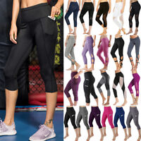 Women's Capri Yoga Leggings Pants Cropped Sports Gym Fitness Workout Trousers O