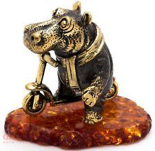 Solid Brass Amber Figurine baby Hippopotamus Hippo on a kick scooter IronWork