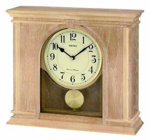 Seiko Analog Quartz Blonde Oak Wood Case Chiming Mantel Clock QXQ022BLH