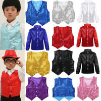 Kids Boys Glittery Sequined Vest Top Jacket Shiny Waistcoat for Prom Dance Stage
