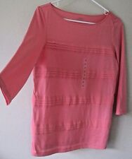 Ann Taylor LOFT Small Textured Striped Semi-Sheer Stretchy 3/4 Sleeves Coral Top