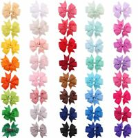 20PCs Baby Hair Bows Boutique Girl Alligator Clip Grosgrain Ribbon Headband Gift