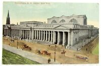 PENNSYLVANIA R.R. STATION NEW YORK CITY N.Y. ANTIQUE UNUSED POSTCARD railroad