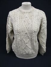 Aran Sweater, Chunky Knit Crew Neck Jumper, McKenna's, Small, Mottled, 51cm Wide