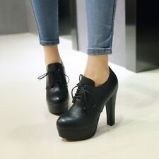 Womens Block High Heels Platform Low Top Lace Up Shoes Casual Round Toe Pumps BN