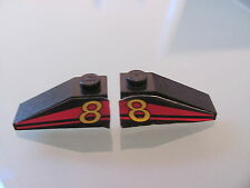 LEGO 4286pb005 @@ Slope 33 3 x 1 Yellow Num8 on Red Stripes Pattern @@ 8818