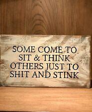rustic wood bathroom sign, farmhouse style, toilet, humor, stink