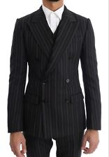 Dolce & Gabbana Suit Black Striped Double Breasted 3 Piece Eu44 / Us34