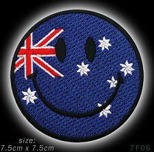 SMILEY FACE on AUSSIE AUSTRALIAN FLAG Iron-On / Sew-On Patch - NEW - #7F06