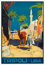 "tripoli libya travel vintage art print post for your glass frame 36"" x 24"""