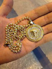 versace diamond pendant 1.7ct 14k yellow gold medusa pendant