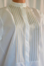AKRIS PUNTO WHITE LONG SLEEVES COTTON TOXEDO STYLE PRIEST COLLAR SHIRT SZ 38 US6