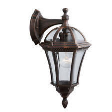 Searchlight 1563 Capri IP44 Rustic Brown Outdoor Wall Downlighter Bevelled Glass