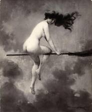 WITCHCRAFT NUDE WITCH FLYING BROOM MOONLIT SKY WICCA VINTAGE CANVAS ART PRINT