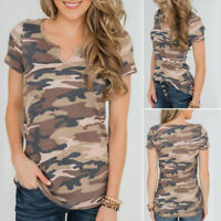 Summer Women Casual Loose Camouflage Tee Short Sleeve V-Neck Tops Blouse T Shirt